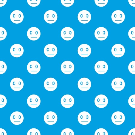 Suspicious emotpattern repeat seamless in blue color for any design. Vector geometric illustration Illustration
