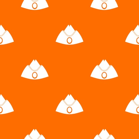 Forage cap pattern repeat seamless in orange color for any design. Vector geometric illustration