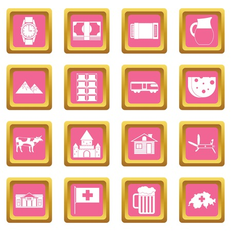 Switzerland icons set in pink color isolated vector illustration for web and any design Illustration