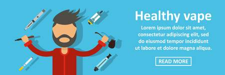 Healthy vape banner horizontal concept. Flat illustration of healthy vape banner horizontal vector concept for web Illustration