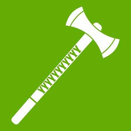 Big ax icon white isolated on green background. Vector illustration