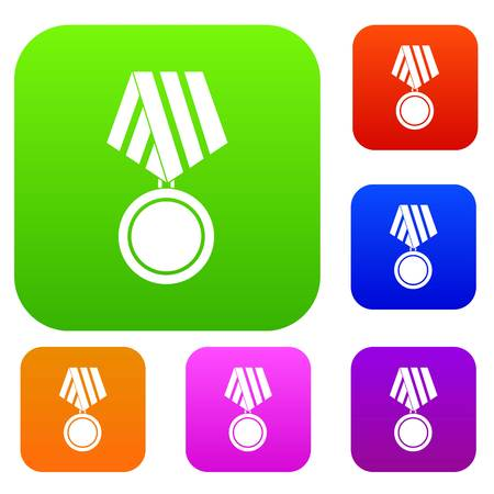 Military medal set icon in different colors isolated vector illustration. Premium collection