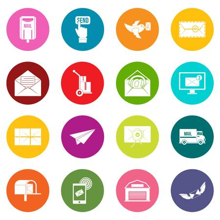 carrier pigeons: Poste service icons many colors set isolated on white for digital marketing