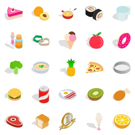 food, cafe icons set, isometric style