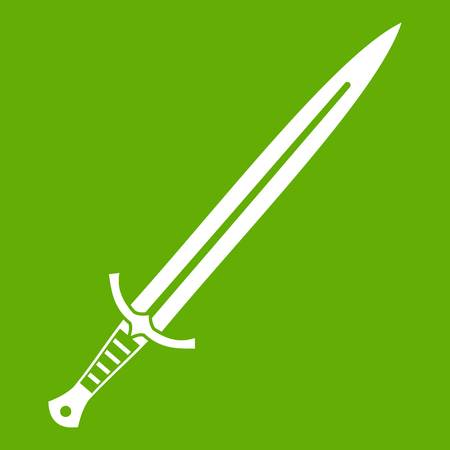 Long sword icon green Stock Vector - 84443116