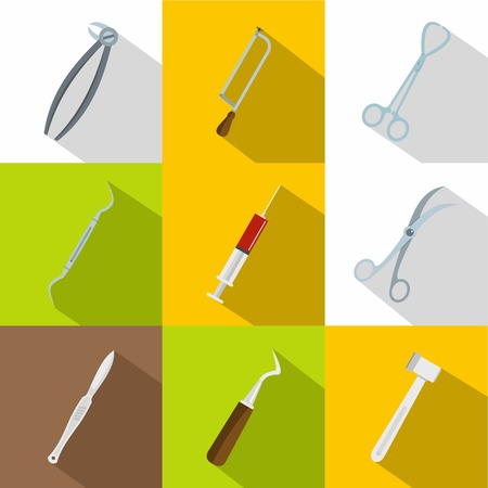 Surgeon equipment icons set, flat style