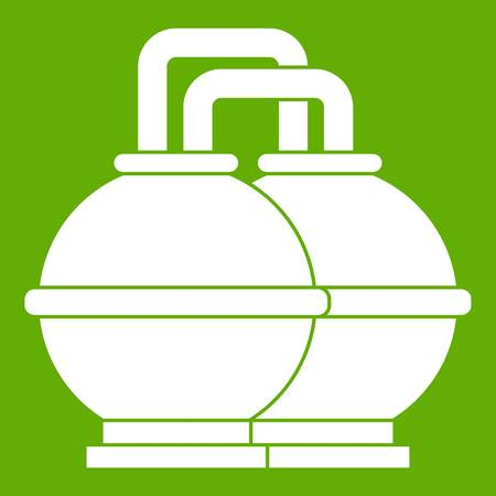 petrol pump: Industrial tanks for petrol and oil icon white isolated on green background. Vector illustration