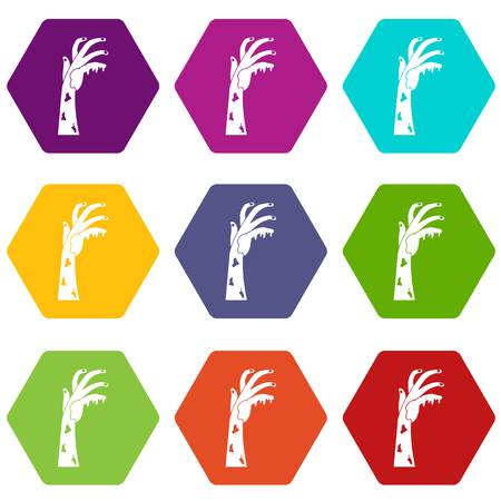 Zombie hand icon set many color hexahedron isolated on white vector illustration Illustration