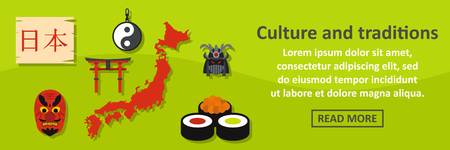 Culture and traditions japan banner horizontal concept. Flat illustration of culture and traditions japan banner horizontal vector concept for web