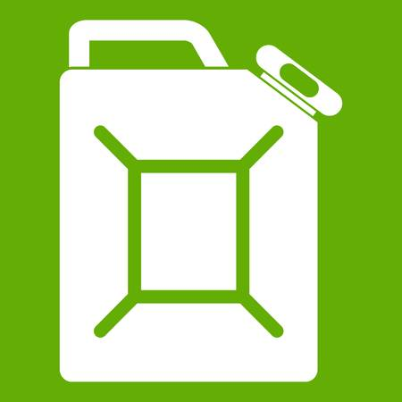 Fuel jerrycan icon white isolated on green background. Vector illustration