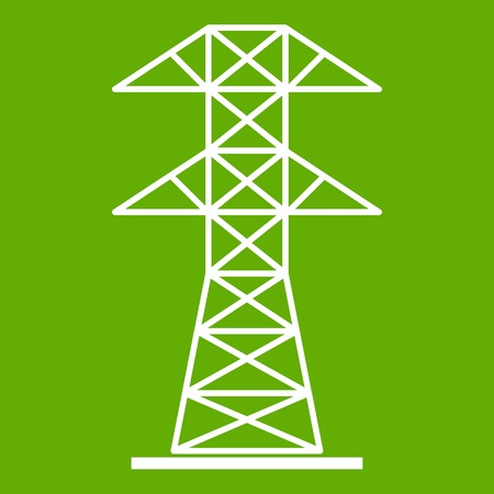 High voltage tower icon white isolated on green background. Vector illustration