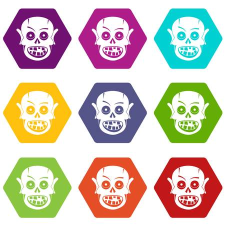 Living dead icon set many color hexahedron isolated on white vector illustration