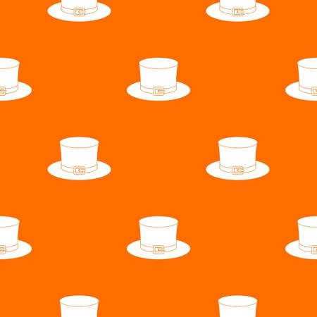 seamless clover: Leprechaun hat pattern repeat seamless in orange color for any design. Vector geometric illustration