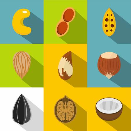 Edible nuts icons set. Flat set of 9 edible nuts vector icons for web with long shadow