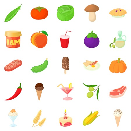 Tinned goods icons set. Cartoon set of 25 tinned goods vector icons for web isolated on white background