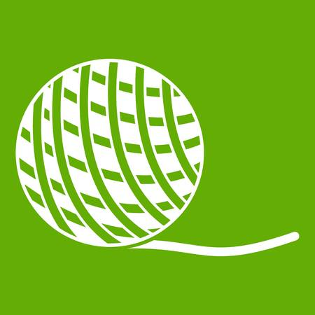 Yarn ball toy for cat icon white isolated on green background. Vector illustration Illustration