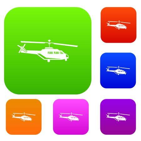Icono militar conjunto de helicópteros en diferentes colores ilustración vectorial aislado. Colección Premium Foto de archivo - 84440815