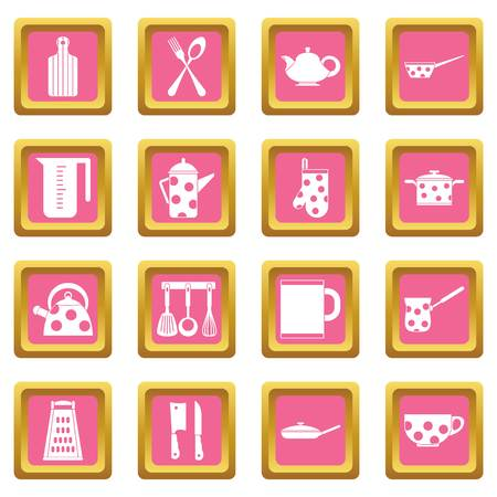 Kitchen tools and utensils icons set in pink color isolated vector illustration for web and any design