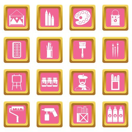 paint can: Painting icons set in pink color isolated vector illustration for web and any design