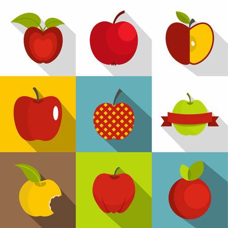 Apple sign icons set. Flat set of 9 apple sign vector icons for web with long shadow Illustration