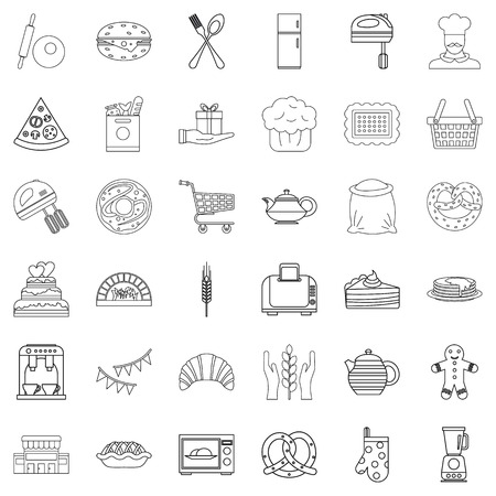 rolling bag: Food icons set. Outline style of 36 food vector icons for web isolated on white background Illustration