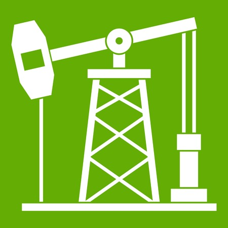 Oil derrick icon green Illustration