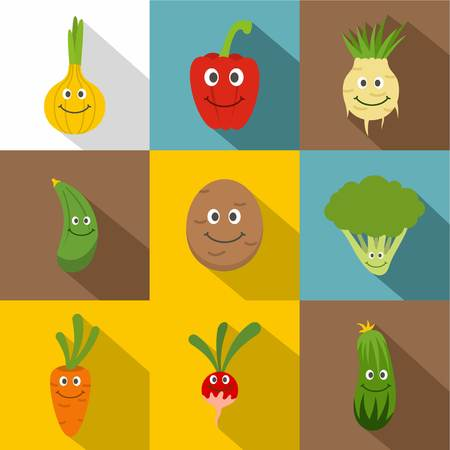 Happy smiling vegetables icons set, flat style