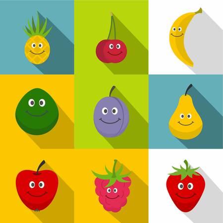 Smiling fruit icons set, flat style Ilustracja