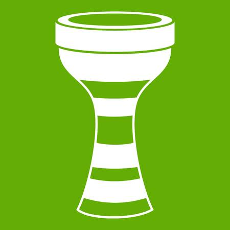 African drum icon white isolated on green background. Vector illustration