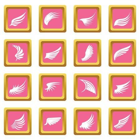 핑크 색상으로 설정된 날개 아이콘 웹 및 모든 디자인을위한 격리 된 벡터 일러스트 레이 션