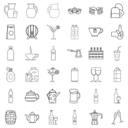 Bottle crate icons set. Outline style of 36 bottle crate vector icons for web isolated on white background
