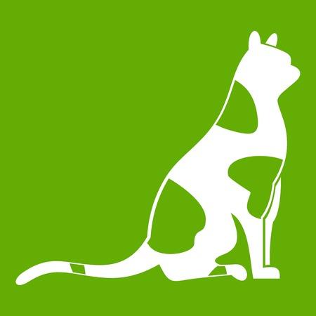 Sitting cat icon green