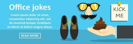 humorous: Office jokes banner horizontal concept Illustration