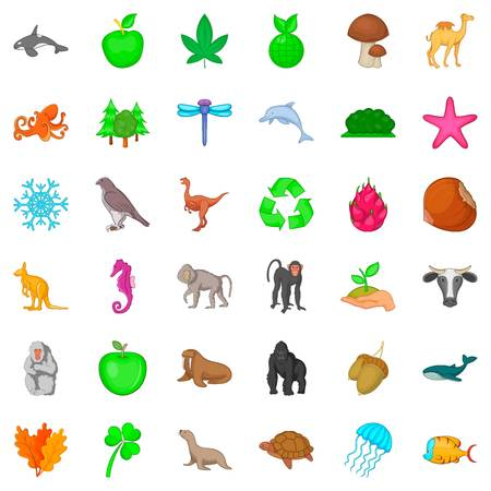 primate biology: Animal species icons set, cartoon style