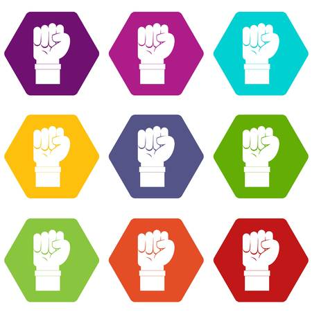 Fist icon set color hexahedron