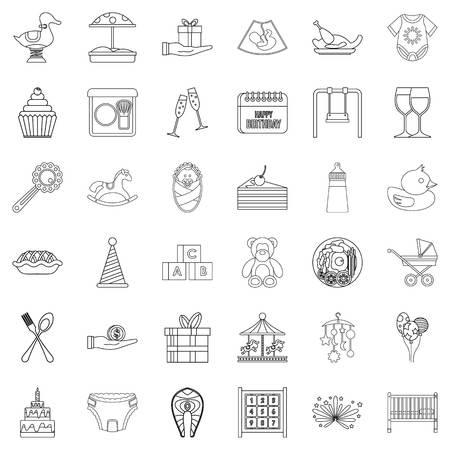 champagne celebration: Cocktail icons set, outline style Illustration