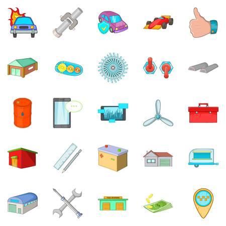 forwarding: Shed icons set, cartoon style