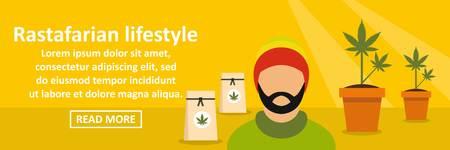 jamaican man: Rastafarian lifestyle banner horizontal concept Illustration