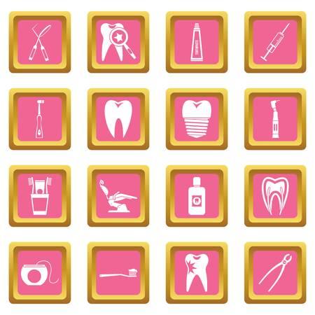 Dental care icons pink Illustration