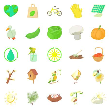 Horticulture icons set, cartoon style