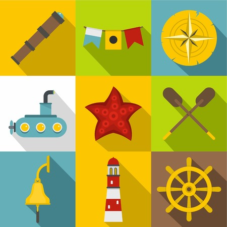 Sea party icons set, flat style