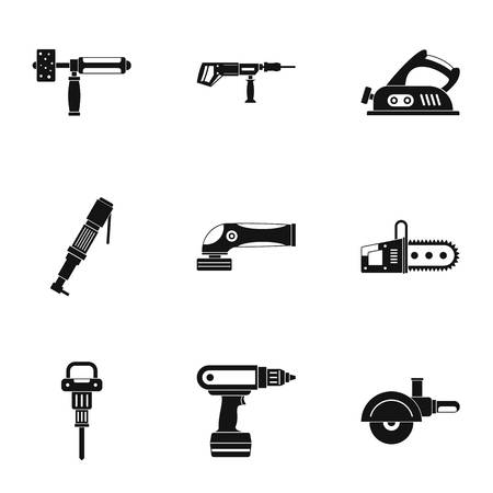 Construction tool icon set, simple style
