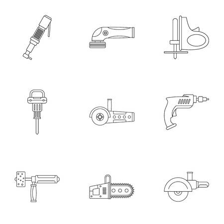 Electric tool icon set, outline style