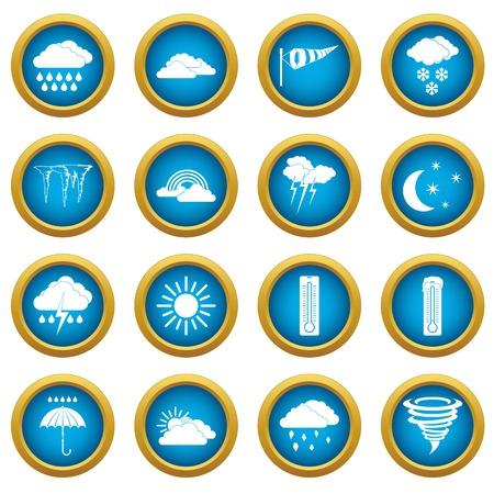 rainy season: Weather set icons blue circle set