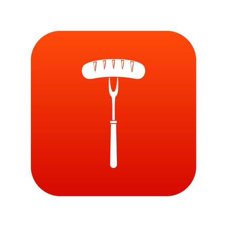 Sausage on bbq fork icon digital red