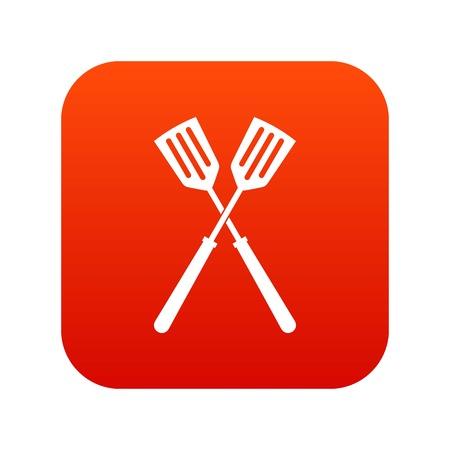 Two metal spatulas icon digital red