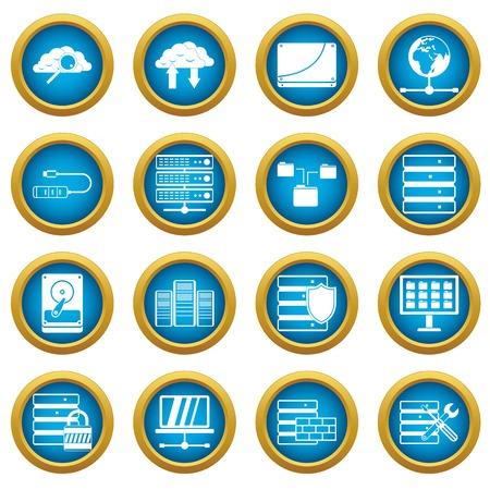 Database icons, blue circle set Illustration