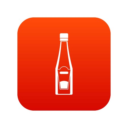 Bottle of ketchup icon, digital, red