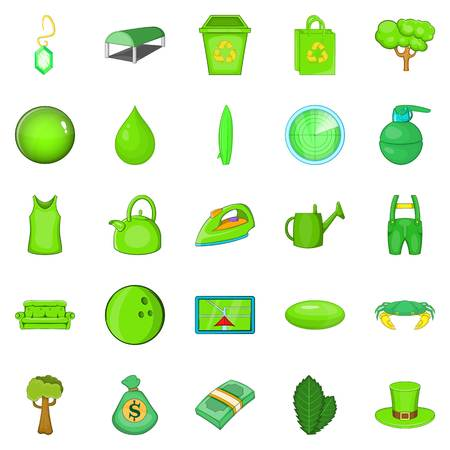 Landscaping icons set, cartoon style Illustration