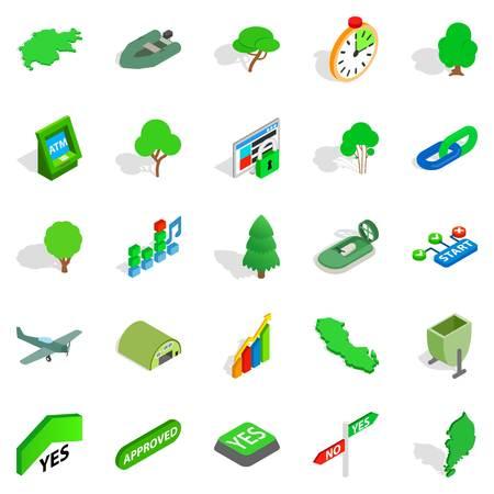 Green world icons set, isometric style Illustration